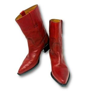 Cole Haan Country Cowgirl Boots Cowboy Italy Red